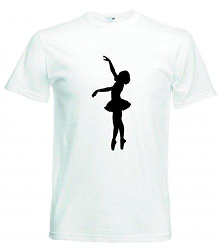 Camiseta de manga corta para el año - ballet - bailarina - danza - bailarina - mujeres - mujeres - mujeres - silueta - salud - entrenamiento para hombre - mujer - niños - 104 – 5XL Blanco Talla del hombre: 4X-Large