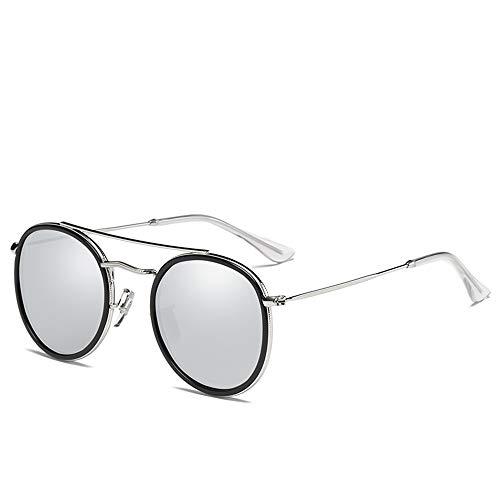 wuxu713 Die runde Rahmen neue Mode Sonnenbrille Polarisator Sonnenbrille 0915 Frau, Silberfolie Quecksilberhalter