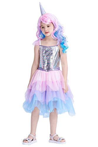 IKALI Costume Unicorno Bambina con Parrucca,...