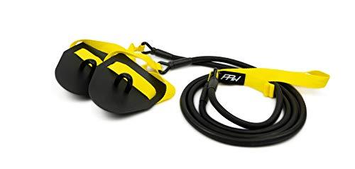 PPWear® Zugseil Schwimmtrainer mit Handpaddles, Widerstandsband und Paddles fürs Armzug-Training, Krafttraining für Schwimmer und Triathleten (Gelb Medium-Schwer)