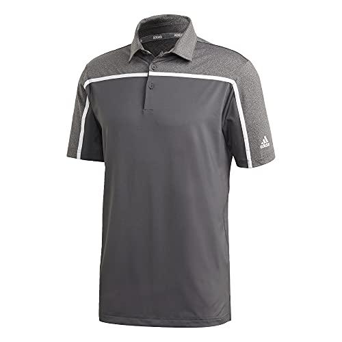 adidas Golf Men's Ultimate365 3-Stripes Recycled Polyester Polo Shirt, Gray/Black, Medium