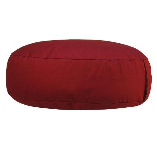 Meditationskissen RONDO extra-flach (Dinkel-Füllung) mit Velveton-Bezug, Ø 38cm, bequemes Sitzkissen, Yogakissen, niedrig, (wein-rot)