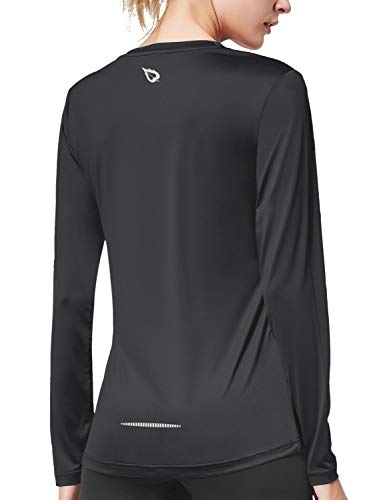 BALEAF Women's Long Sleeve T-Shirt Quick Dry Running Workout Shirts Black Size XL