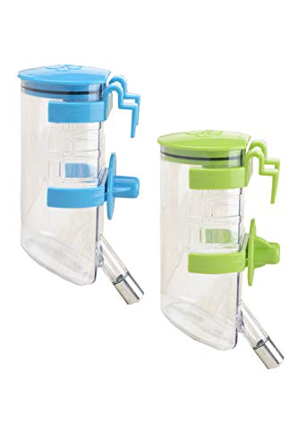 ペット給水器 ペット給水ボトル ペットウォーターボトル 水飲み器 犬 猫 小動物 吊り下げボトル 自動給水ボトル 留守番対応 ケージ用給水 2個セット 350ml (ブルー・グリーン)