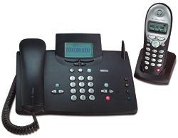 Telekom T-Sinus 721 PA Schnurgebundenes ISDN Telefon mit Mobilteil, schwarz/blau