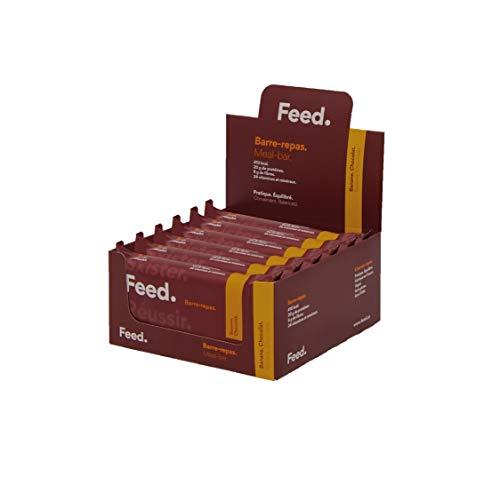 Barre-repas Banane. Chocolat. - Feed. Original - Pack de 12 x 100g - 20gr de protéines - 400kcal par repas.
