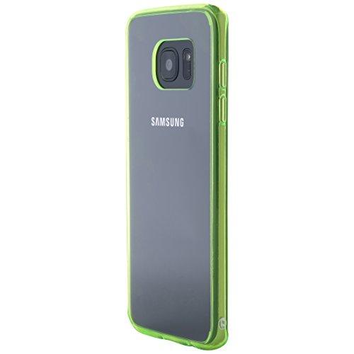 Ultratec Funda protectora híbrida para smartphone / carcasa con borde de TPU de color para Samsung S7 edge, con funda con cremallera, transparente/verde