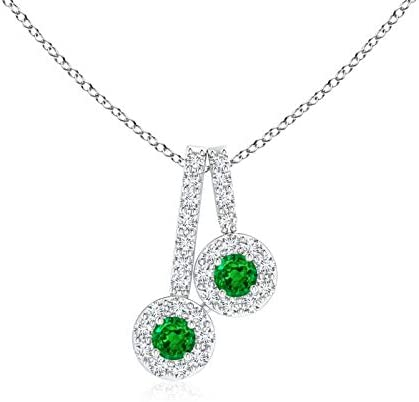 Prong-Set Two Direct store Stone Emerald Halo Pendant Many popular brands 2.3mm