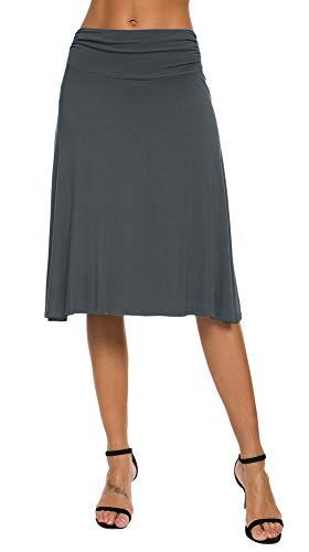 EXCHIC Falda de Yoga para Mujer con Mini Llamarada (M, Pizarra)