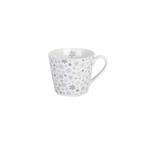Krasilnikoff - Becher, Tasse mit Henkel - Happy Cup - Snowflakes - weiß, grau - ca. 400 ml - Höhe: 9 cm