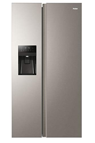 Haier HSR3918FIMP Freestanding American Style Side By Side Fridge Freezer with Plumbed Water & Ice Dispenser, 515L Capacity, A+ (F) Energy Rated - Platinum Inox