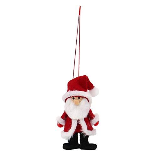 Dekohelden24 Textil Weihnachtsmänner Baumbehang/Anhänger als 4er Set, in rot/weiß, Maße L/B/H: 4 x 4 x 8 cm.