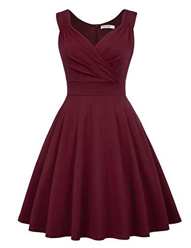 50s Kleider Rockabilly Vintage Retro Kleid cocktailkleider Burgundy a Linie Kleider CL698-2 L