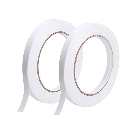 Doppelseitiges Klebeband, 2 Rollen Stark klebendes Büronähen DIY Bastelbänder, 50 Meter pro Rolle (Breite: 8 mm)