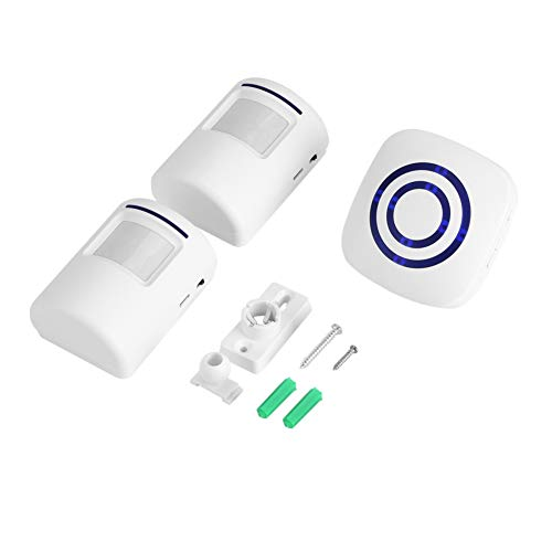 Campanello di Entrata Rilevatore Wireless Movimento del Sensore Infrarossi Mettere in Guardia Allarme con Ricevitore e Trasmettitore 38 Chime Tunes Indicatori LED(#1)