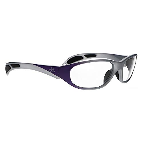 Lead Glasses, X-Ray Radiation Eye Protection, Lightweight Wrap-Around Nylon Frame with Soft Grip Temple Bars for Secure Fit (Silver Purple Fade)