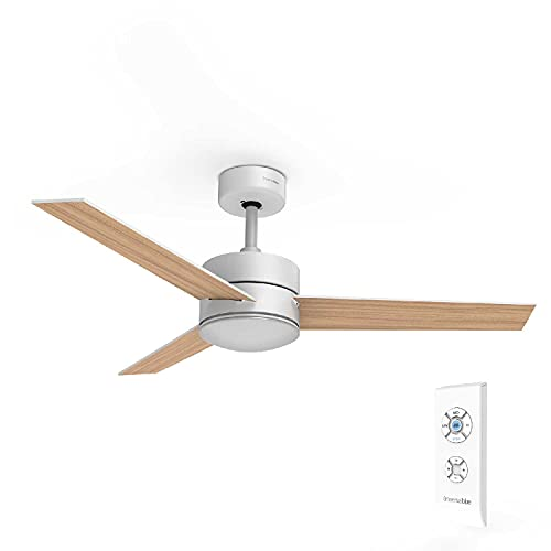 UNIVERSALBLUE | Ventilador de Techo con Luz LED Silencioso | Mando a Distancia | 3 Aspas Reversibles | Diámetro 118 cm | Potencia 70 W | Temporizador | 3 velocidades | Blanco - Madera