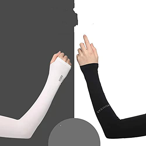 Manga de hielo Protector solar Verano femenino Mangas de seda de hielo con mangas largas de hielo Guantes de conducción Mangas de protección del brazo delgadas de conducción en blanco y negro cada una