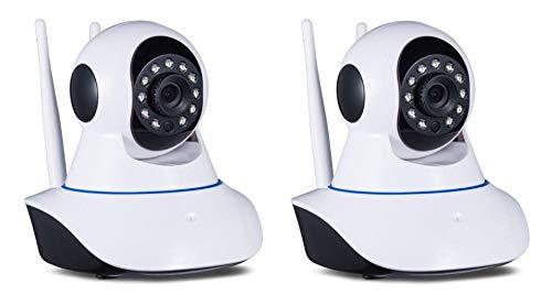 Coppia Di Telecamere Wireless Ipcam Wifi Ad Infrarossi Motorizzata Lan Hd 720P