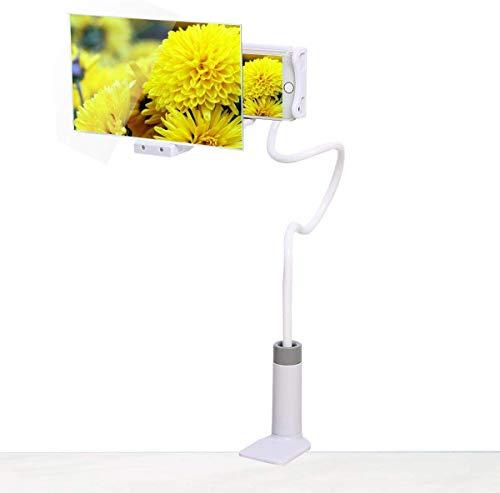 3D telefoon-display vergrootglas, 8 inch HD stereoscopische mobiele telefoon vergrootglas, zwanenhals, flexibele projector, video-versterker, telefoonhouder voor iPhone Android, Clip+Long, Wit