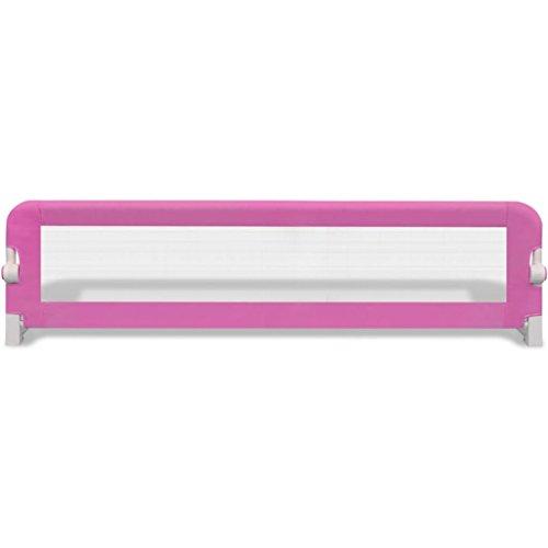 Cikonielf Barandilla Plegable de Cama Infantil 150 x 42 cm Barrera de Seguridad de Cama para bebé de 18 Meses a 5 años Rosa