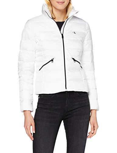 Calvin Klein Jeans Damen Logo Fitted Puffer Jacke, Bright White, XL