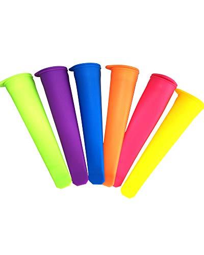 LUUCKFY 6 Piezas Silicona Tapas De Moldes para Paletas De Hielo Vistoso Paleta De Mano Reutilizable para Cocina DIY Colorido