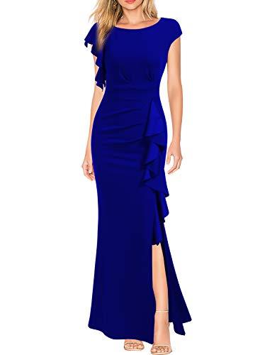 WOOSEA Women's Split Bodycon Mermaid Evening Cocktail Long Dress Royal Blue