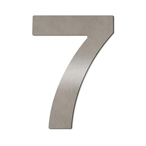 Große Thorwa® Design Edelstahl Hausnummer, fein gebürstet, inkl. Montagematerial/H: 200mm / Farbe: silber (7)