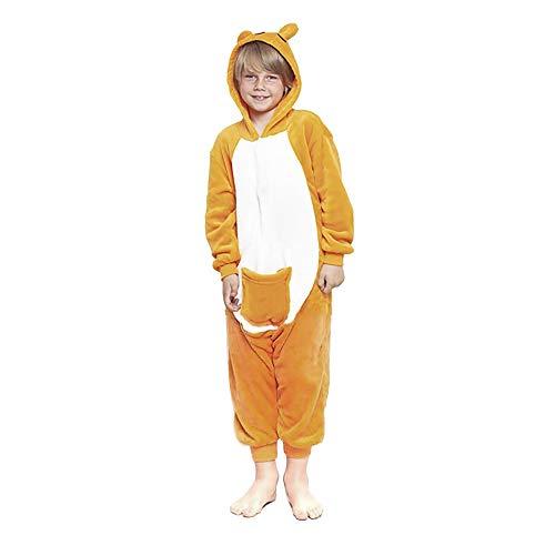 H HANSEL HOME Pijama Canguro Entero Infantil niño niñas de Dibujos Animado Disfraces Animales Carnaval Halloween Cosplay Ropa de Dormir. 100% Poliéster 10-12 años