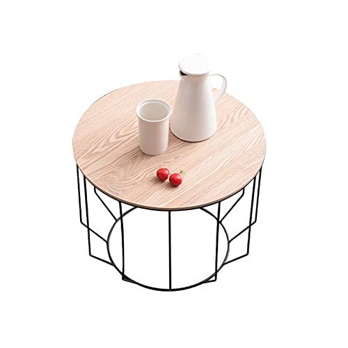 Mesa auxiliar para sala de estar Mesas de café / auxiliares de alambre de metal Cesta de almacenamiento Mesa de sofá de madera extraíble superior geométrica moderna para espacios pequeños ( Size : S )