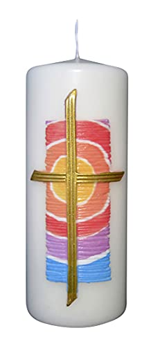 Vela de Pascua con diseño de cera, de colores, aprox. 150/60