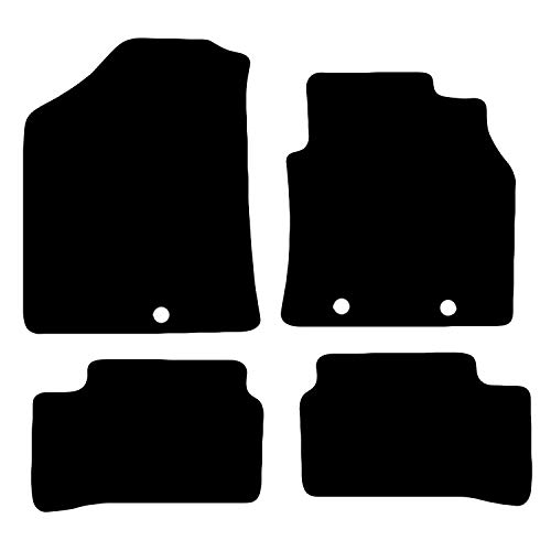 Carsio Tailored Black Carpet Car Mats for i10 2014 onwards - 4 Piece Set with 3 Clips