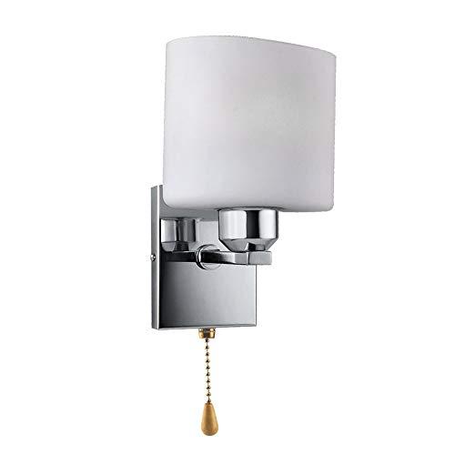 QYHOME Wandlampet Moderne LED-Lampe innen elegant Design Wand angebrachte Nachttischlampe für Wohnzimmer Schlafzimmer Korridor,Kaltweiss(mit dem Pull-Schnurschalter & Einschließlich 3W Glühlampe)