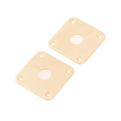 Musiclily Pro Plastic Curved Jack Plate Square Jackplates for Gibson Epiphone Les Paul Guitar, Cream(Set of 2)