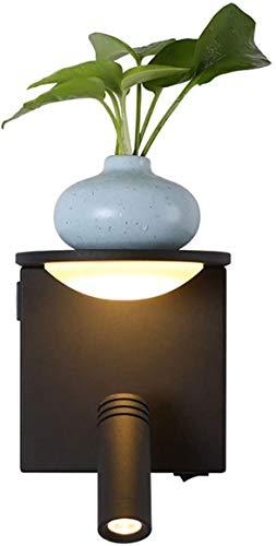Wlnnes 3W Lámpara de noche moderna LED Luz de luz cálida Lámpara de pared con interruptor USB Foco giratorio y lámpara de pared de estante para dormitorio Stairwell Hallway Habitación para niños Resta