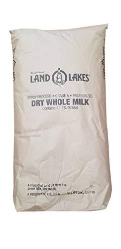 55 LB Land O Lakes Whole Milk Powder | Grade A & Pasteurized | Makes 47 Gallons | 28.5% Milkfat Dry Whole Milk Powder | Bulk Size 55 LB Bag