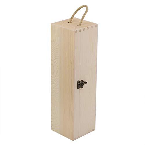 01 Caja de Regalo de Vino, 13.8 * 3.9 * 3.9 en Caja de Vino de Madera, Regalo para la Familia Porta Regalo con Tapa abatible Vino de Vientre Grande Botellas de Vino Tinto