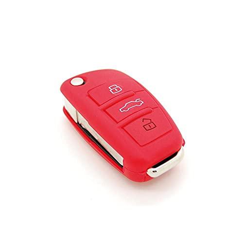 Générique Housse de clé en Silicone pour Audi A1 A2 A3 A4 A5 3 Boutons Rouge