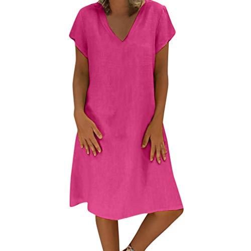 Damen Leinen Kleid Frauen Sommer T-Shirt locker lässig Große Größe Absatz einfaches Kleid URIBAKY, Hot Rosa, XXL
