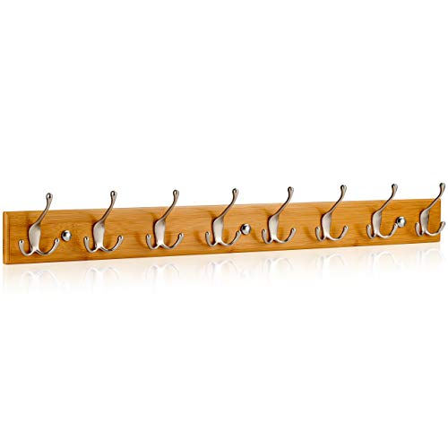 LARHN Wall-Mounted Coat Rack - 8 Matt-Nickel Triple Coat Hooks for Wall on...