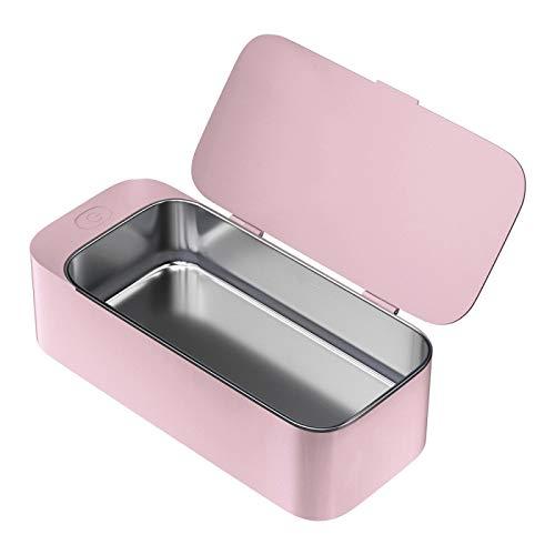 Limpiador portátil Gafas Joyas Anteojos Lente Reloj Anillo Moneda Cabeza de afeitar Collar Máquina de limpieza de baño Rosa