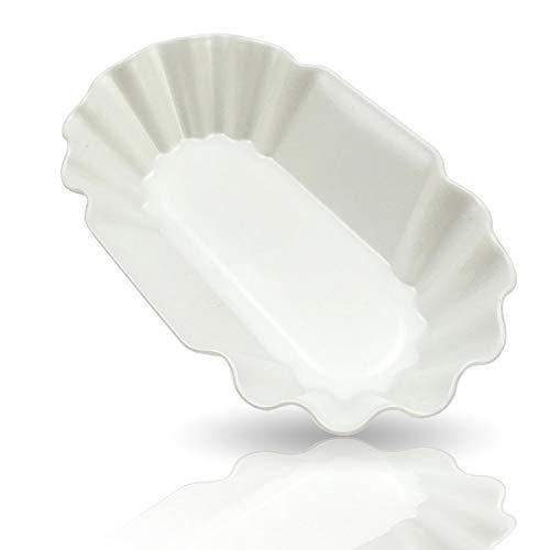 Kerafactum Mehrweg 6 Stück Pommesschale Snack Schale für Pommes oder Currywurst Wurstschale Snackschale für Imbiss oder Kantinen elfenbeinfarben wiederverwendbar - Spülmaschinen geeignet eckig 19,0 cm