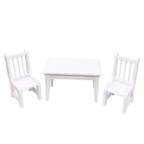 YOPDNE Muebles de Cocina en Miniatura decoración de Escena al Aire Libre Mesa y Silla Blanca Mesa Cuadrada Dos sillas