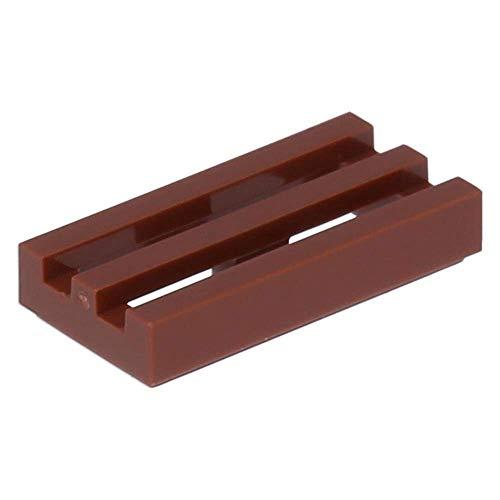 50 x LEGO® Fliese, Modifiziert 1 x 2 Gitter mit Einkerbung unten Rotbraun