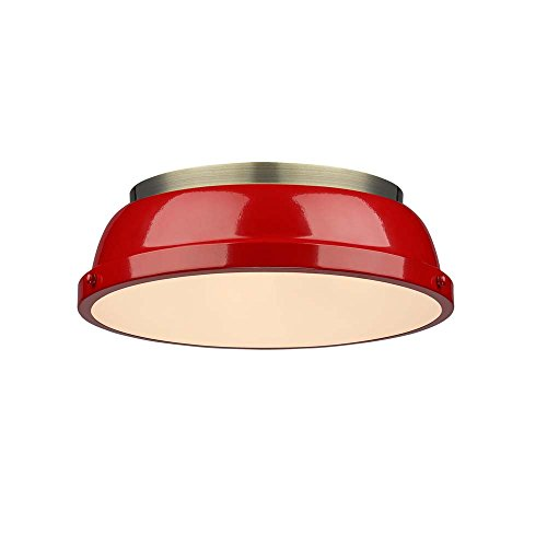 Golden Lighting 3602-14 AB-RD Duncan - Two Light Flush Mount, Aged Brass Finish with Red Shade