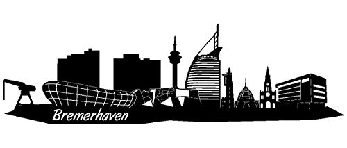 Samunshi® Wandtattoo Bremerhaven Skyline Wandaufkleber in 5 Größen und 19 Farben (170x50cm schwarz)