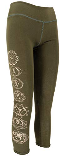 Guru-Shop, Psytrance Dames Leggings, Chakra Yoga Leggings, Yogabroek, Katoen, Shorts en 3/4 Broeken, Leggings