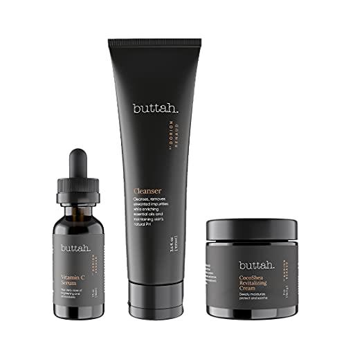 Buttah Skin Transforming Kit With NEW CocoShea Revitalizing Cream for Melanin Rich Skin | CocoShea Revitalizing Cream 2 oz | Vitamin C Serum 1 oz | Buttah Cleanser 3.4 oz | Black Owned Skincare