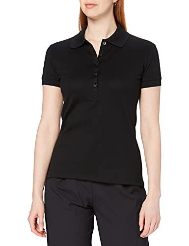 Trigema Damen Swarovski Kristallen 526611 Poloshirt, Schwarz (schwarz 008), 44 (Herstellergröße: L)